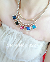 free shipping Big gem crystal pearl fashion design necklace female short accessories decoration accessories multi-layer