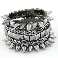 Fashion Punk Style Exaggerated Multilayer Metal Spike Rivet Stud Stretch Charm Bracelet & Snake Chain Bracelet
