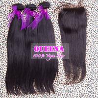 Malaysian virgin hair natural straight,lace closure with hair bundles human hair weave straight 4pcs lot,Grade 5A