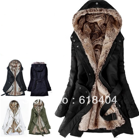 2015 fashion slim Faux fur lining winter long jacket women,winter coat cotton-padded women Hoodies parka ,thick jaket WC615(China (Mainland))