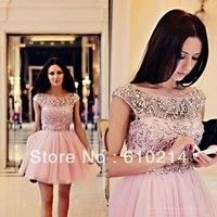 Lovely Sexy Bateau Cap Sleeves Dazzling Crystals A-line Celebrity Inspired Dresses V Back Mini Pink Designer Formal Evening Gown