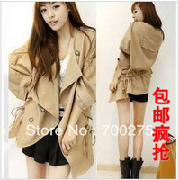 Free Shipping 2013 Autumn New Arrival Women's Elegant Loose Drawstring Trench Outerwear Hot Sales