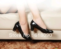 2013 genuine leather single shoes female princess thick heel small yards women's shoes 31 32 33 autumn