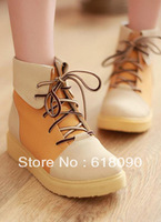 2013 spring and autumn casual boots color block decoration lacing platform flat martin boots snow boots female