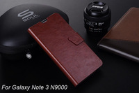High Quality business PU leather Flip case for Samsung Galaxy Note 3 N9000,Stand design cover thin card slot Phone case