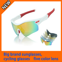 new fashion 5 lens  men 's  Bicycle Bike Cycling sun glasses  for outdoor sports with white frame