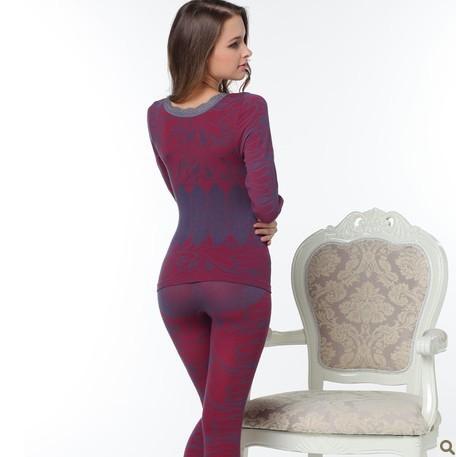 Плотные похудения Thermo комплект женщины в тело формирователь с круглым вырезом волна Edge нижнее белье кальсоны тепловой нижнее белье