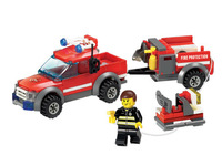 New wholesale open intellectual enlightenment blocks puzzle assembling toys fire truck series 8055