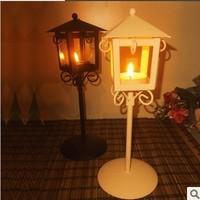 European classic, wrought iron candlestick european-style lamps candlestick candles, small pavilion glass storm lantern