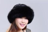 Fashion long thicken women genuine mink hair fur fox fur winter warm fedora, fabric lining sable fur hat