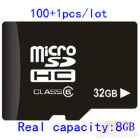 (101PCS/Lot )Micro Sd Card 32GB  Memory Card  TF Card  SDHC   Real Capacity 8GB  With SD Adapter+  Free  Shipping  DHL