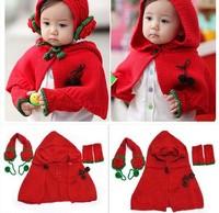 2014 children winter gloves baby gloves warm gloves lovely 3pc/suit  Girl  Winter Warm Knit Shawl Earmuffs Scarf Cape Hat Gloves