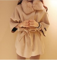 New fashion women wool coats fur with cap female woolen cloak outerwear fur collar medium-long blended wool coat