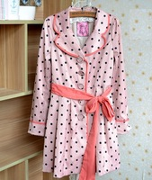 Long TRENCH COAT Watermelon Pink Polka Dots Pleated Long Coat Sweety US XS S