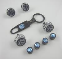 9pcs/set Style Metal License Plate Frame Bolts Screws Tire Valve Caps Keychain for Volkswagen VW Golf Passat GTI Jetta All Model