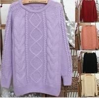 Freeshipping Korean round neck thicken twist pullover sweater women warm retro bottoming sweater lady grid winter sweater