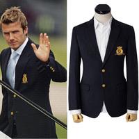 2014 NEW men's WOOLEN overcoat fashion woolen suit men&business men jacket slim fit thermal Beckham badge men's suits quality