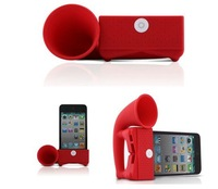 EMS Freeshipping 50Pcs/Lot For iPhone4 4G Cute Silicone Horn Stand Speaker Loudspeaker Amplifier