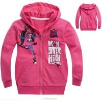 new 2014,spring  children clothing,monster high fashion girls clothes,baby,kids girl,children hoodies,children outerwear