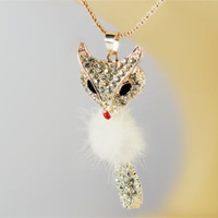 2013 Korean version of the plush sweater chain long necklace rhinestone fashion statement fox for woman