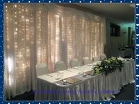 3*6m White Silk Wedding Backdrop Wedding Curtain Backdrop Wedding Drape with LED light free shipping