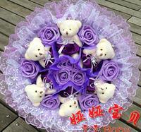 Punk Style The 6 Korean Bear 9 Flower Rose Cartoon Bouquet Toy Bouquet for Lovers  q33