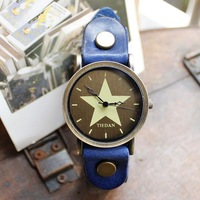 NP054Q 2013 new large five-pointed star retro leather men's watches Ladies watches couple watch fashion female kids gift