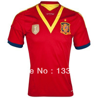 TOP Thailand Quality 13 14 Spain Home Soccer Jersey Football Jersey Print ORIGINAL Print Customeize Number