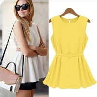 2014 autumn -summer women's summer fashion sleeveless knitted medium-long plus size chiffon shirt slim fashion tops