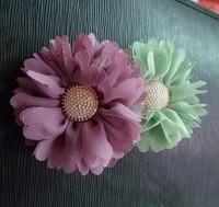 fashion wholesale 60pcs/7color new arrival 3inch artifical chiffon fabric flower baby headband flower garment button flower