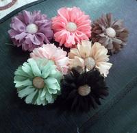 Trail order 2'' vintage chiffon flower with button for girls headband flower DIY Photography props 30pcs/lot Chiffon Headbands
