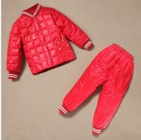2013 New Baby Girls Boys Winter Down Sets Jacket +Pants Kids Children Clothing Suits Size 90cm-110cm 6 Colors