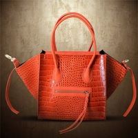 Crocodile Croco Shaded Tote Bag 2014 New European and American Hollywood Style Gossip Girl Fashion Smiley Leather Purse Handbag