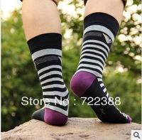 2013 New arrival korea higher tube winter socks national style striped color patch kintted meia men socks 6pairs/lot (BW062)