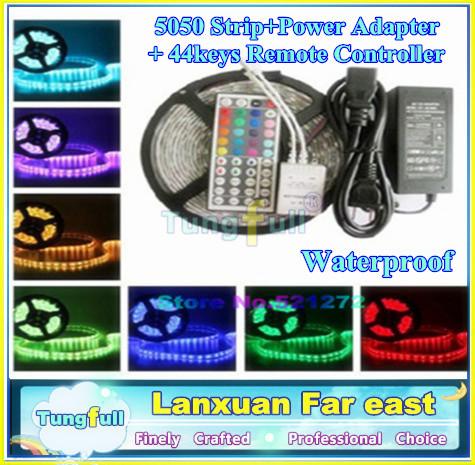 Genuine 5050 RGB Led Strip Waterproof 5M SMD 300 LEDs/Roll +44 keys IR Remote+12V 6A Power Adapter Cheap led strip Tungfull free(China (Mainland))