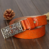 2014 New Design Fashion Womens Genuine Leather Belt With Hollow Out Buckle,Retro Print Flower Belts For Women Jeans,Freeshipping