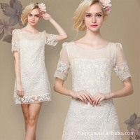 2013 new handmade organza disk flowers rich big yards hollow lace dress Slim silk Europe
