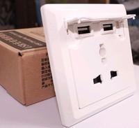 New Arrival !!! Dual USB Charging Wall Socket/ 2100mA AC110- 250V /10A Usb universal socket free shipping