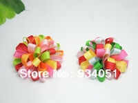 50pcs/lot Ribbon Fabric Flower Flat Back Grosgrain Ribbon Brooches, Kids Hairband, DIY Part Multi Colors Free Shipping