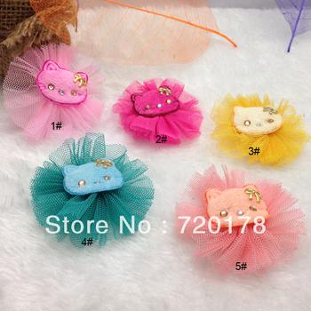 "Free Shipping,100pcs/lot,Mini 2.5"" Mesh Flowers Mini Mesh Flower Cloth HelloKitty Head Flat Back Flower Hair Accessories,TYF42"