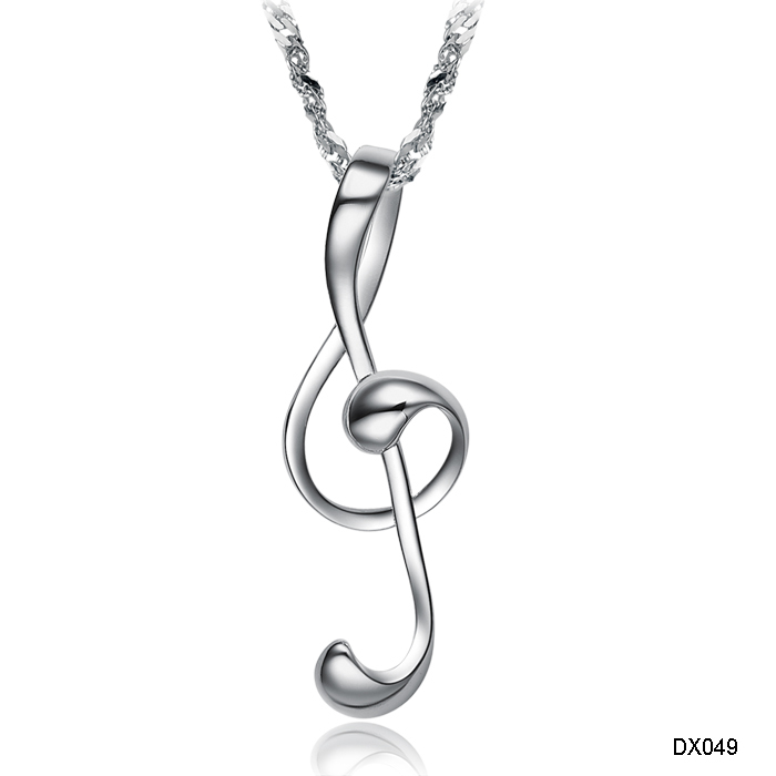 New Europe Fashion Exquisite Jewelry White Gold Plated Loving Dance Music Note Scale Wedding Necklaces Pendant
