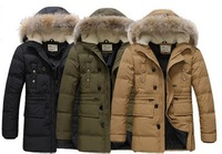 New 2013 male down coat large fur collar 90% winter white duck down coat male outerwear parkas for men