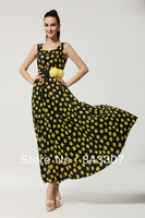 Hot Women Vogue Vintage Maxi Chic Sexy Floral Silk Sleeveless Long Ball Gown Dress Skirt with Belt