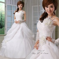 New 2014 Sexy Off shoulder flower bride ivory wedding dress vestido de noiva Lovely princess dress tulle luxury wedding dresses