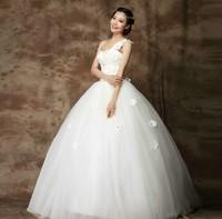 Wedding dress 2014 White Sexy one shoulder flower tulle bride dress vestido de festa princess gothic luxurious wedding dresses