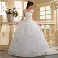 2014 new ivory Sexy one shoulder flower spanish lace backless wedding dress Sweet luxury Lovely princess gothic wedding dresses