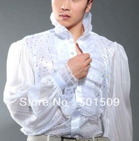 Free shipping fan collar prince stage sequins decoration mens tuxedo shirts party/wedding shirts