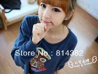 Free Shipping New 2014 Women Hoodies Sweatshirt Long Sleeve Owl Animal Print Pullovers Cotton Shirts Women Grey O-Neck M~L