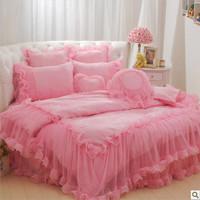 ROUND BED for sale pink princess bedding set romantic bedspread Korean girl comforter set king/queen size bed cover/sheet