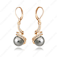 Hot Sale 18K Gold Plated Eardrop Shining Austria Crystal black Pearl Fashion Earring E004R2